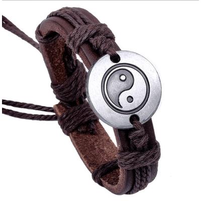 Bracelet homme cuir yin yang boho boheme chic BIJ0525