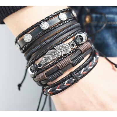 Bracelet cuir multi rangs homme boho boheme chic BANGLE0521