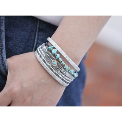 Bracelet aimanté turquoises feuille boho bohème chic BANGLE0541