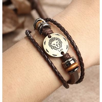 Bracelet cuir zodiaque verseau boho bohème chic BANGLE0540