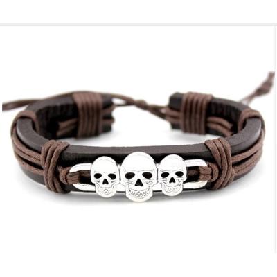 Bracelet cuir têtes mort boho bohème chic BANGLE0539