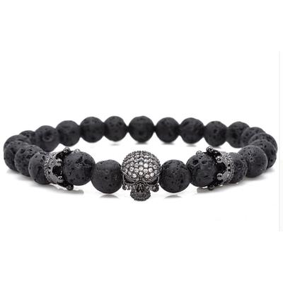 Bracelet pierres de lave skull  boho bohème chic BANGLE0550