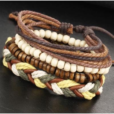 Bracelet multi rangs bois cordes boho boheme chic BIJ0522