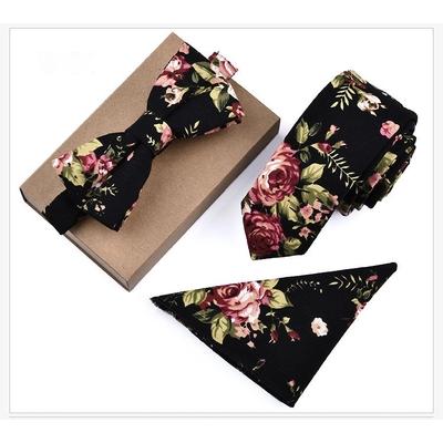 3 pièces cravate pochette noeud papillon fleurs boho boheme chic  CRAVAT0322