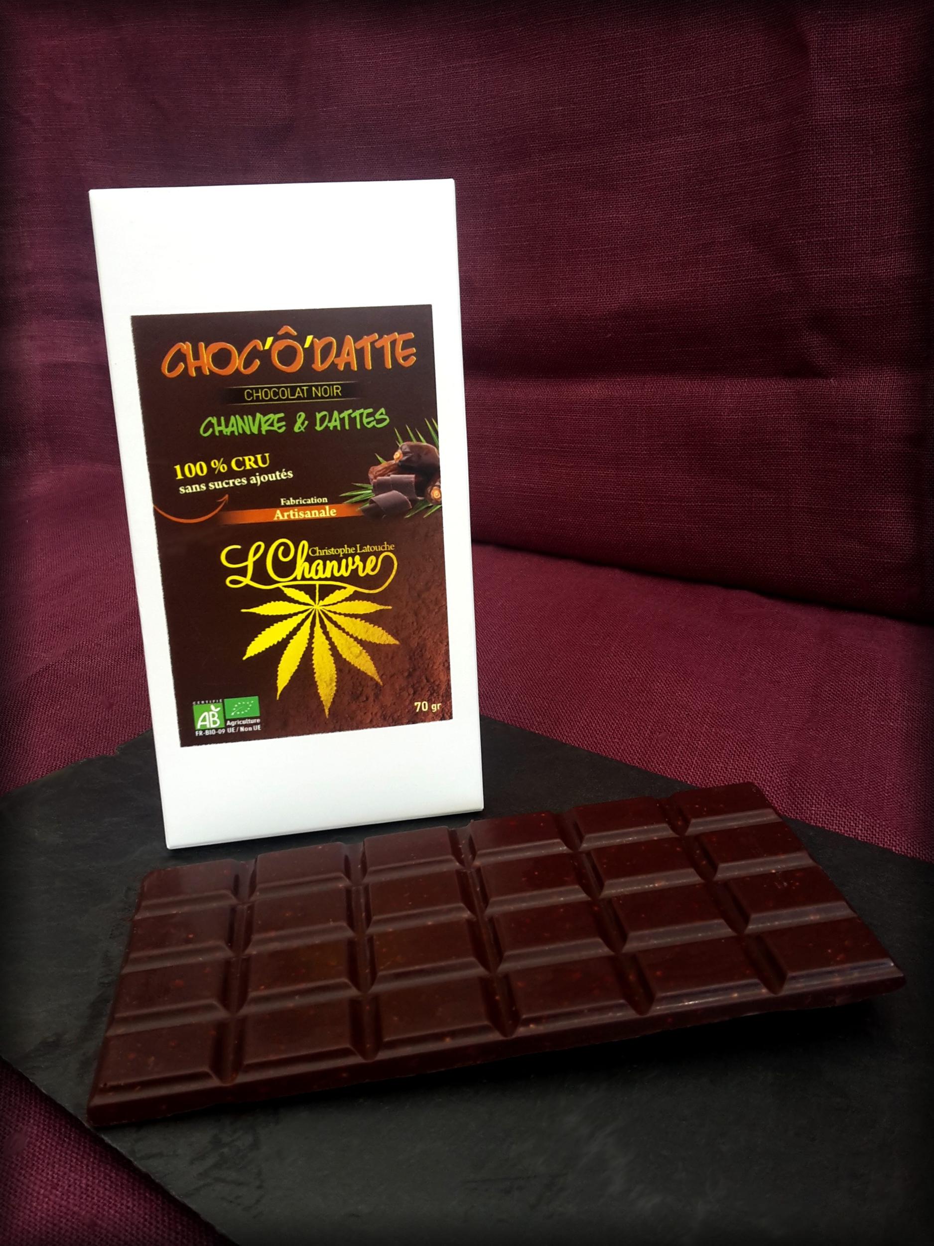 Chocolat noir artisanal Choc'Ô'datte L\'Chanvre