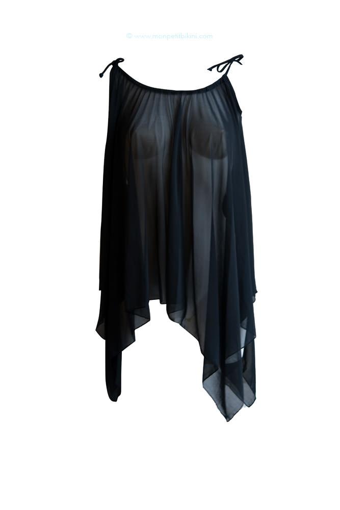 Tunique de plage en voile noir transparent tendance t 2012 - Maillot de bain transparent piscine ...