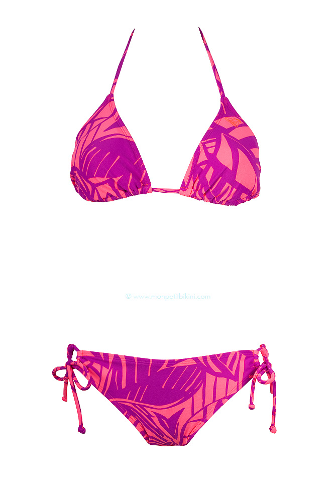 maillot de bain 2 pi ces roxy bikini triangle imprim rose 2014. Black Bedroom Furniture Sets. Home Design Ideas
