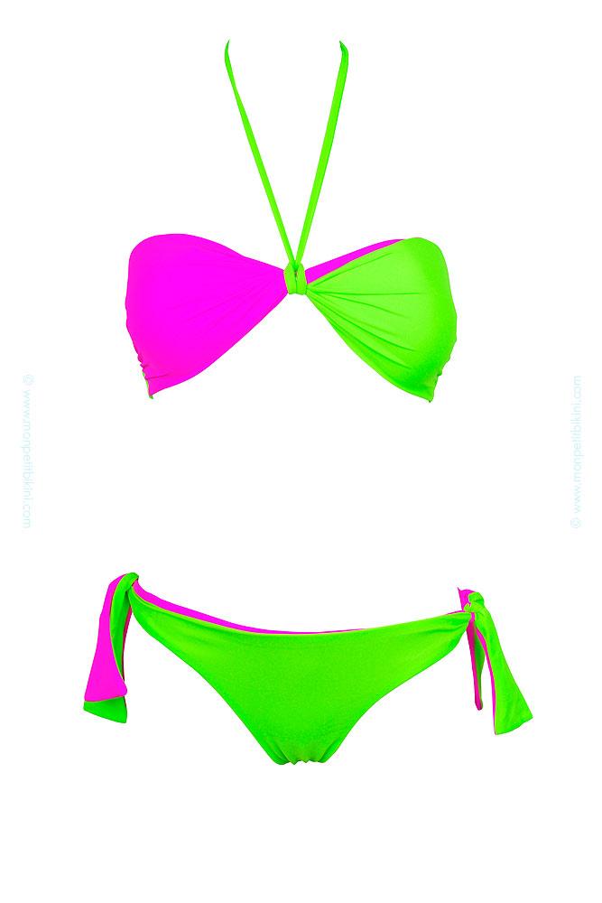 maillot bandeau femme vert fluo maillot de bain r versible pas cher. Black Bedroom Furniture Sets. Home Design Ideas