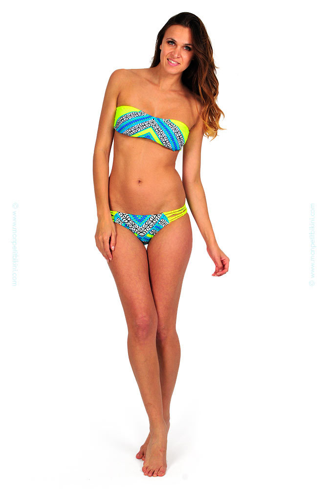 rip curl surf 2014 maillot de bain bandeau jaune fluo pas cher. Black Bedroom Furniture Sets. Home Design Ideas