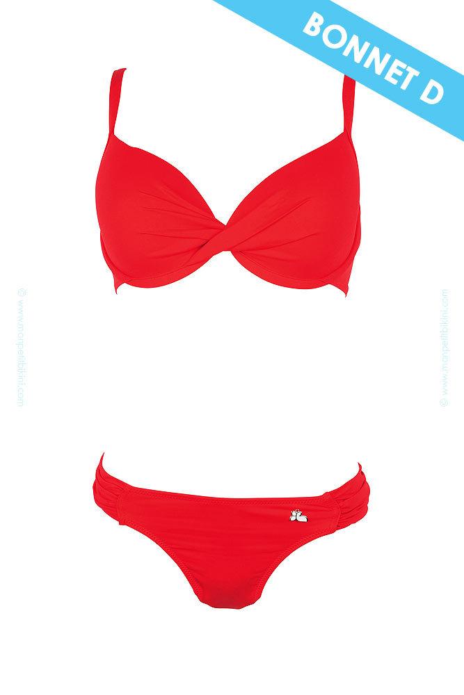 maillot de bain 2 pi ces rouge bonnet d unicool tendance et. Black Bedroom Furniture Sets. Home Design Ideas