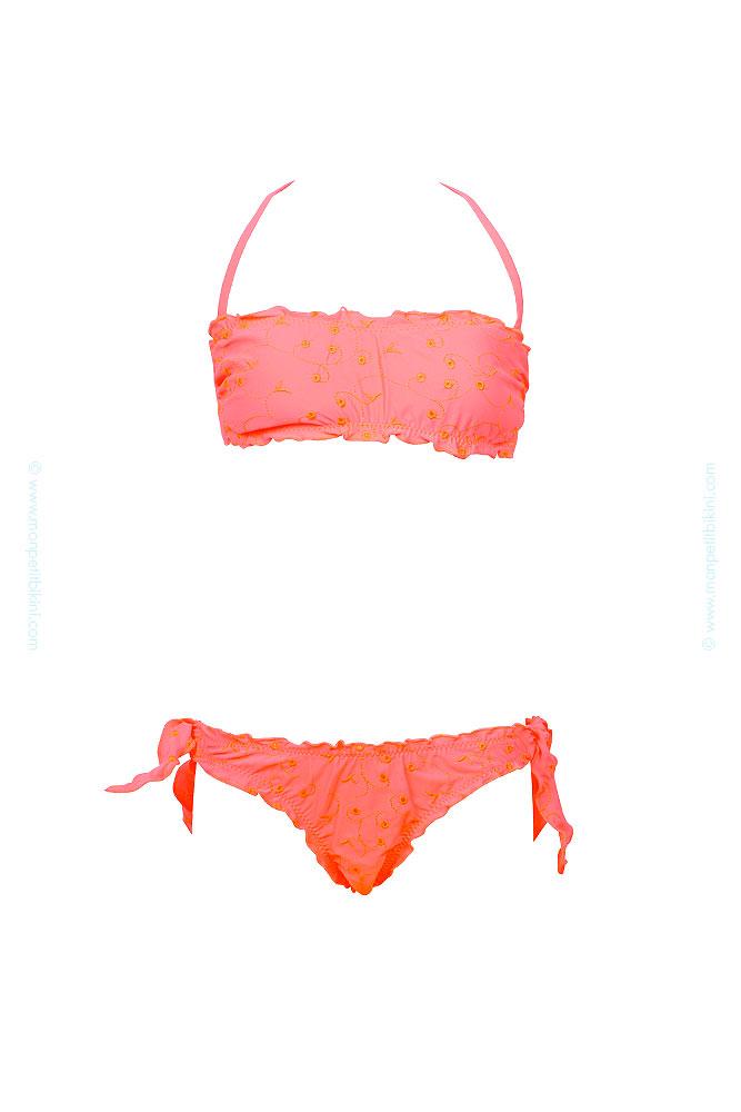 maillot de bain fille corail fluo bandeau enfant tendance t. Black Bedroom Furniture Sets. Home Design Ideas