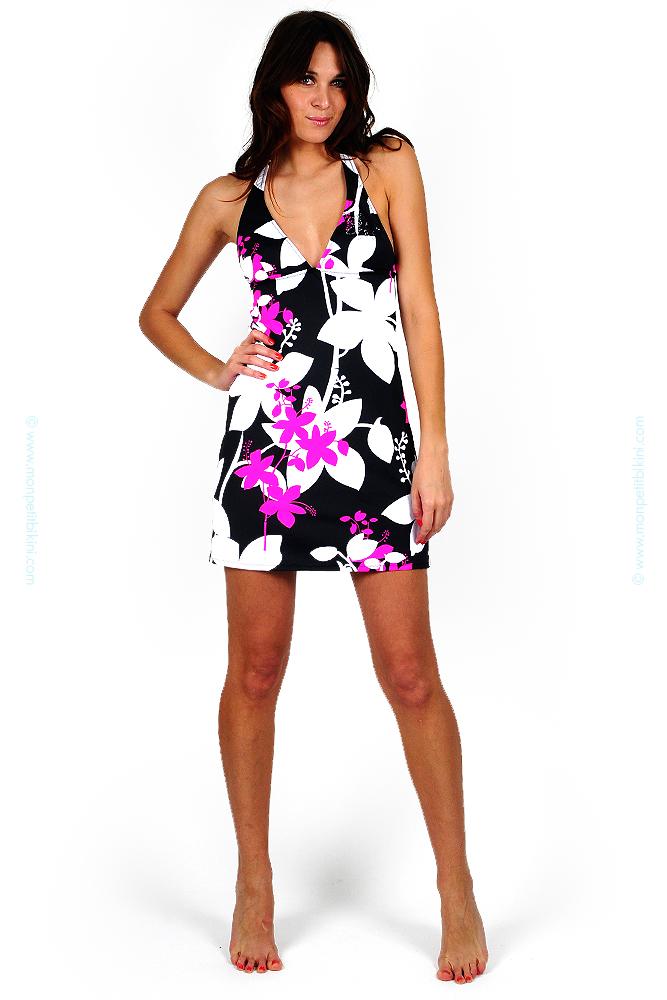 robe de plage noir et rose morgan maillot de bain femme rose. Black Bedroom Furniture Sets. Home Design Ideas