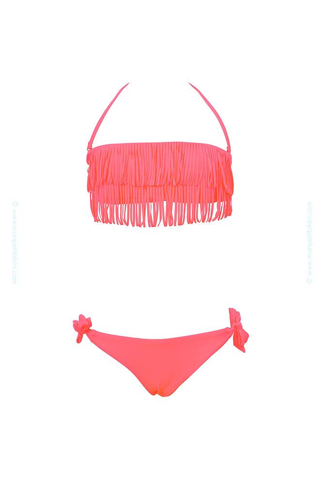 maillot de bain fille corail fluo bandeau franges pour fille. Black Bedroom Furniture Sets. Home Design Ideas