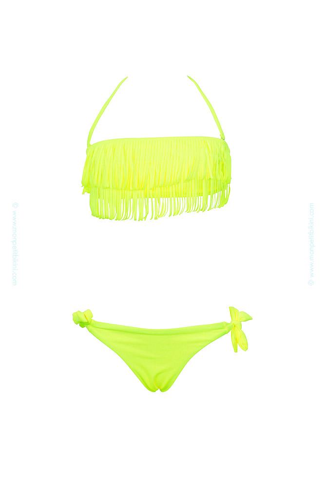 maillot-de-bain-enfant-à-frange-pas-cher-jaune-fluo-a6228