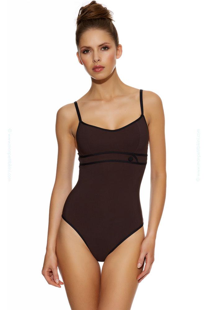 maillot de bain 85e maillot de bain huit nageur 1 pi ce marron brun. Black Bedroom Furniture Sets. Home Design Ideas