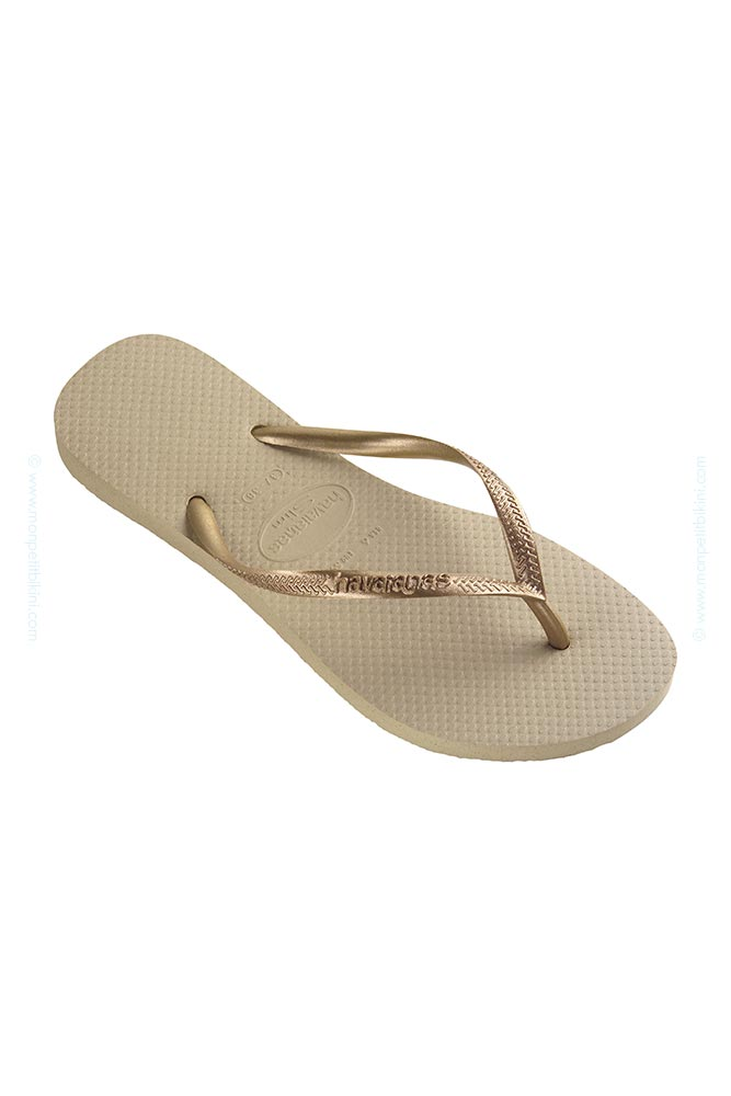 Havaianas Adulte - Tongs Slim beige sable et doré