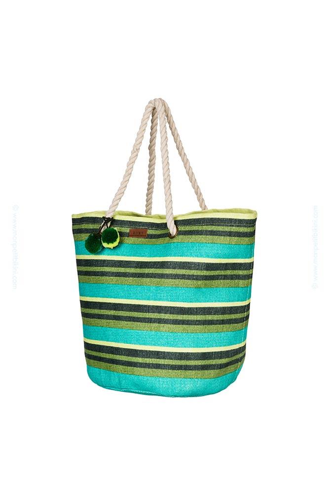 sac de plage cabas roxy collection 2015 a rayures vert arjbp03085. Black Bedroom Furniture Sets. Home Design Ideas