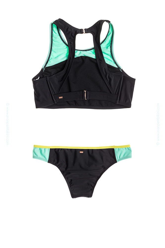 Maillot roxy revers collection 2015 2 pi ces brassi re noir femme - Maillot de bain piscine 2 pieces ...