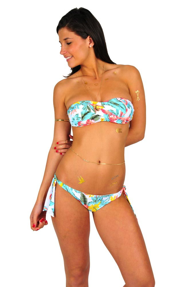 bandeau rip curl 2015 paradise maillot bandeau blanc fleuri. Black Bedroom Furniture Sets. Home Design Ideas