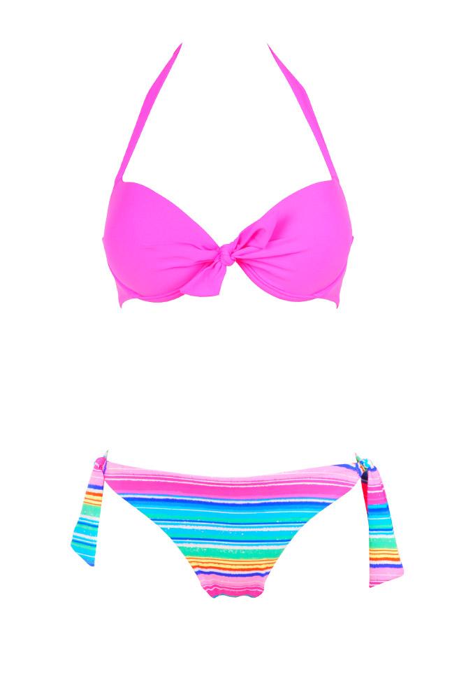 Rose Fluo Maillot De Bain Bikini 2015 Rayé Dépareillé 2 Pièces qVMpLzUSG