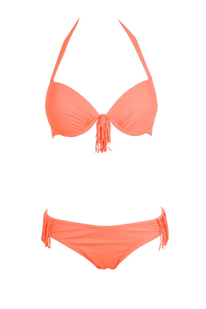 bikini frange corail fluo maillot de bain femme fashion 2015. Black Bedroom Furniture Sets. Home Design Ideas