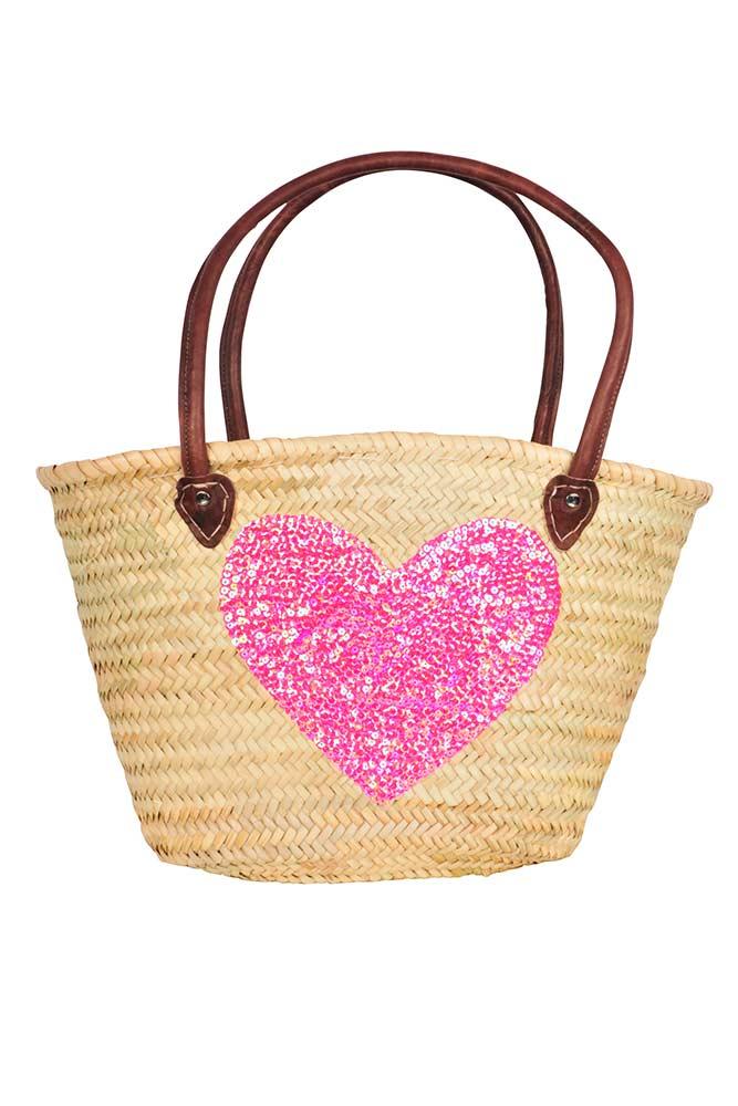 panier en osier coeur rose accessoires de plage pas cher en ligne. Black Bedroom Furniture Sets. Home Design Ideas