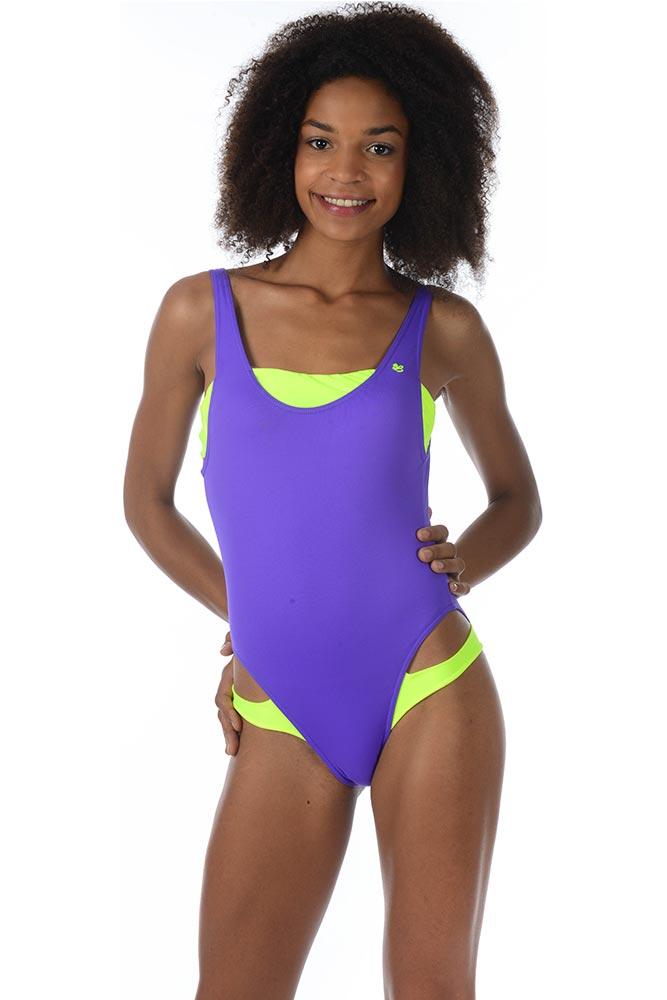 Teens - Maillot de bain une pièce violet fluo Splash Nouveau Débouché Thmj6xgzu2