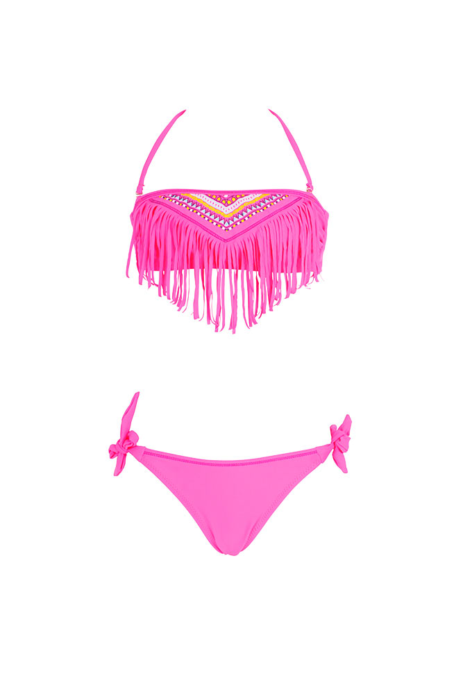 maillot de bain ethnique fille coloris fluo bikini enfant 2016. Black Bedroom Furniture Sets. Home Design Ideas