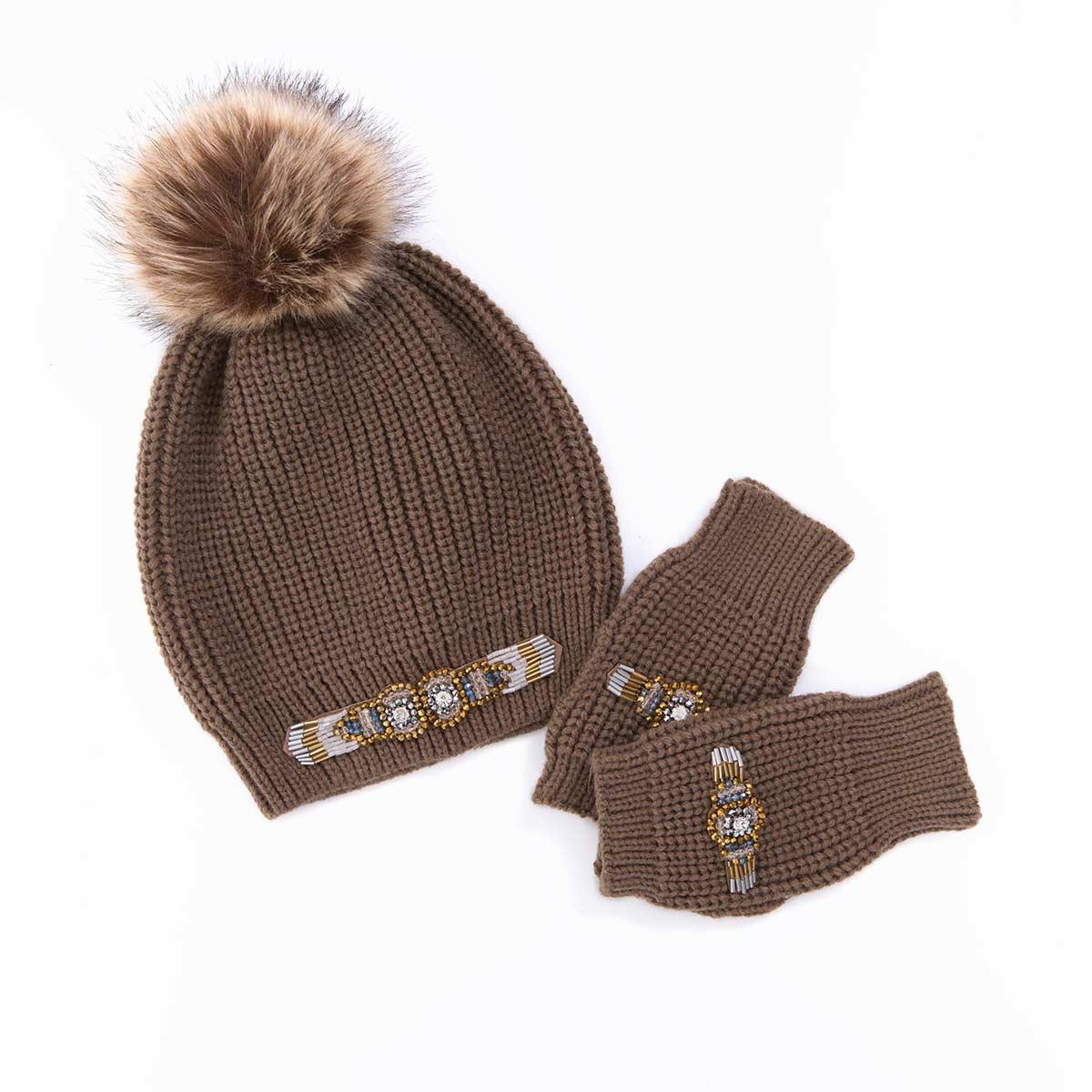 bonnet pompon camel hipanema mitaines bijoux marron bianca. Black Bedroom Furniture Sets. Home Design Ideas