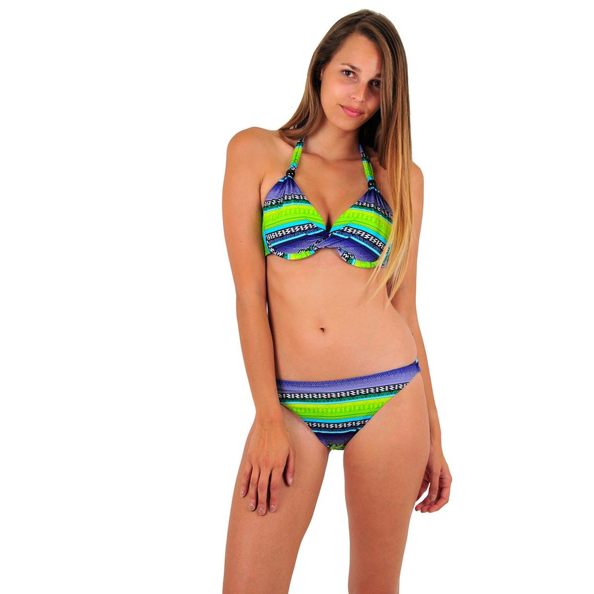 Maillot 2 pièces push-up tanga vert bonnet D Surf
