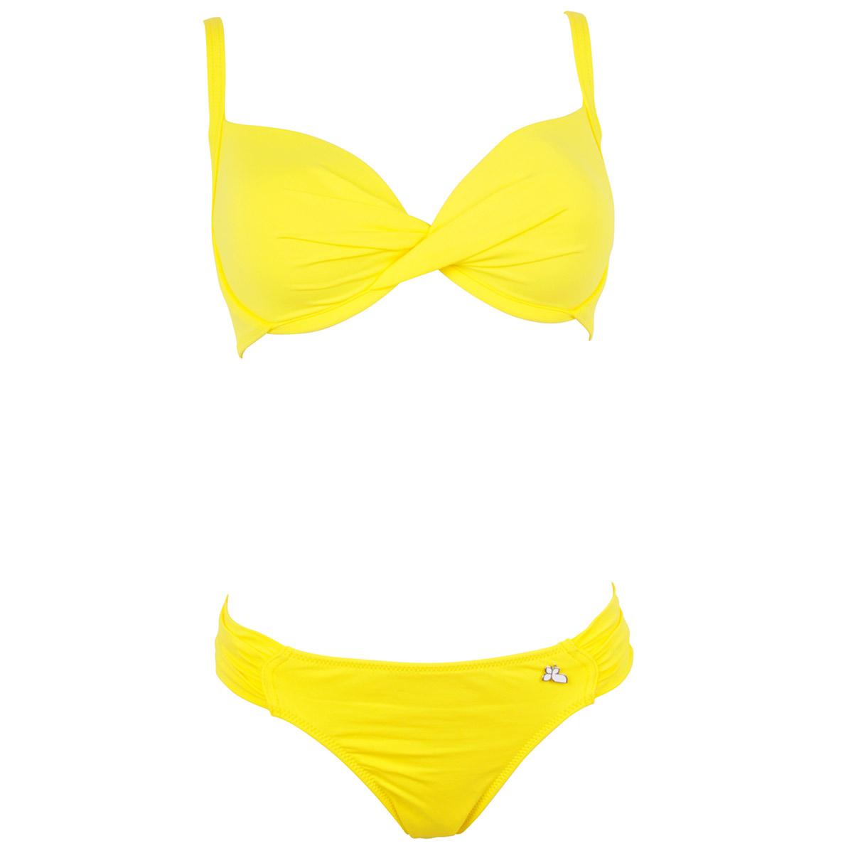 maillot de bain 2 pi ces bonnet d jaune unicool forte poitrine. Black Bedroom Furniture Sets. Home Design Ideas