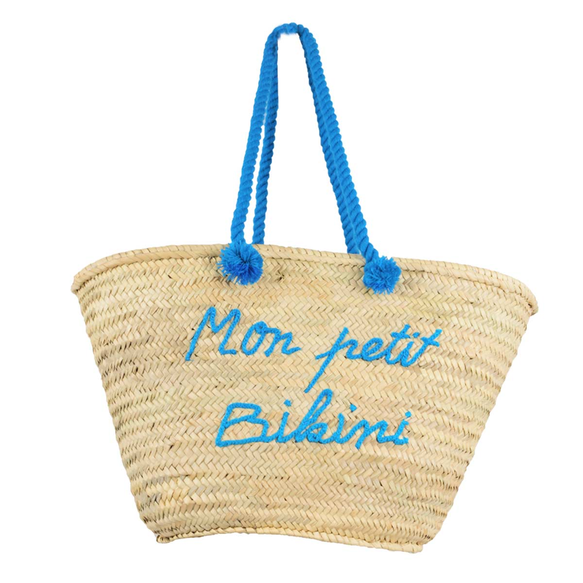 Panier de plage en osier Mon Petit Bikini Bleu Turquoise