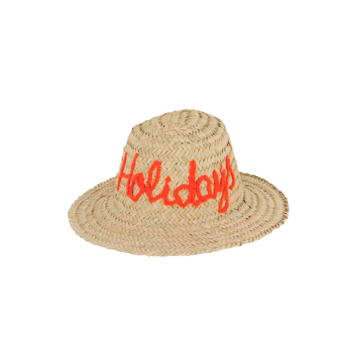 Chapeau de paille motif manuscrit Holidays orange