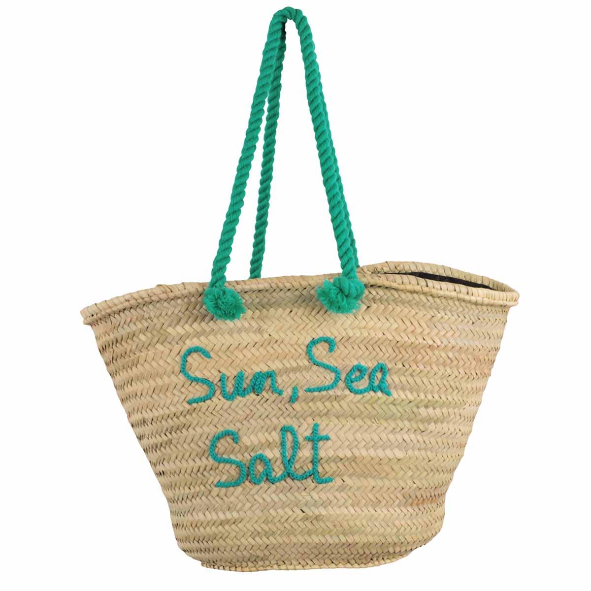 Panier Osier Vert : Panier de plage vert ?meraude sun sea salt accessoires