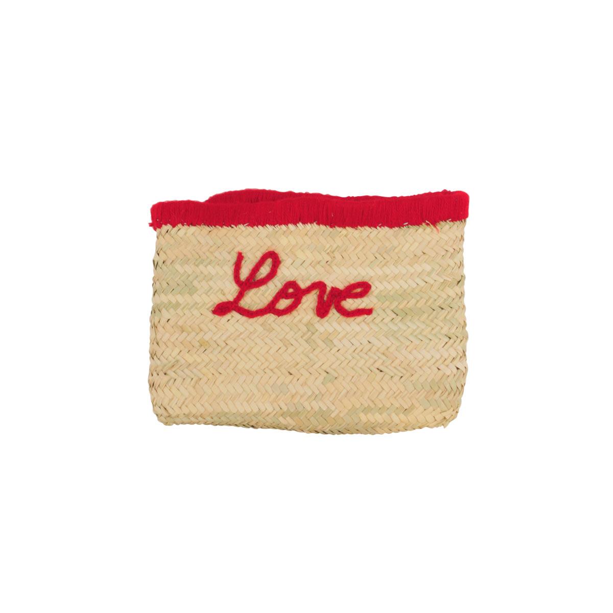 Pochette en osier Love rouge