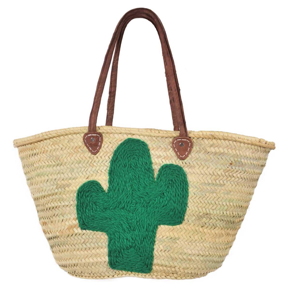 Panier de plage en osier motif cactus vert