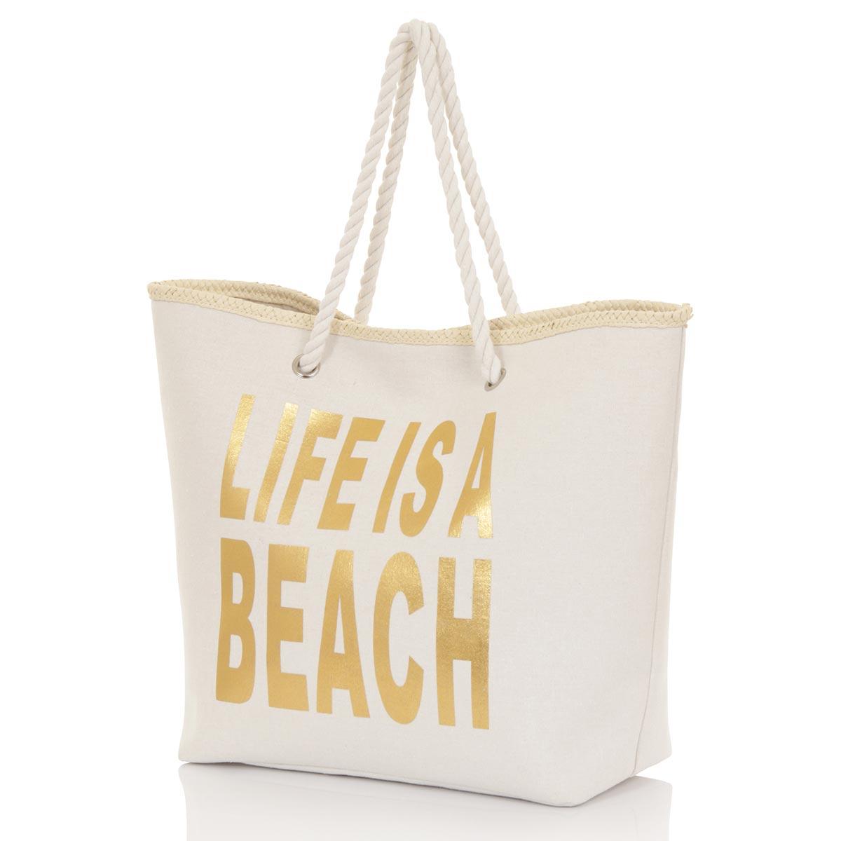 Grand sac cabas doré Life is a Beach