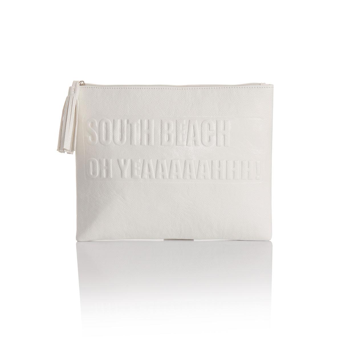 pochette maquillage blanche pour femme avec criture styl e. Black Bedroom Furniture Sets. Home Design Ideas