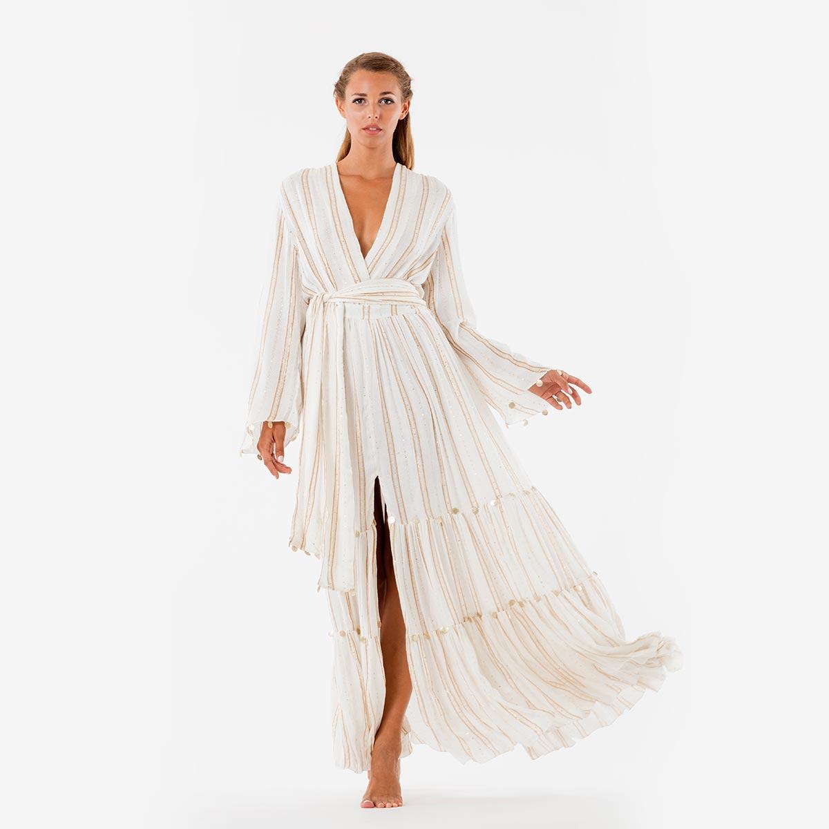 Robe de plage dorée bohème Nataly Gold
