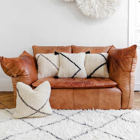 housse de coussin beige berb re ultra tendance style. Black Bedroom Furniture Sets. Home Design Ideas