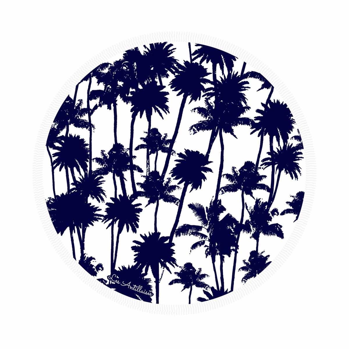 Serviette de plage ronde  Palmeraie bleu