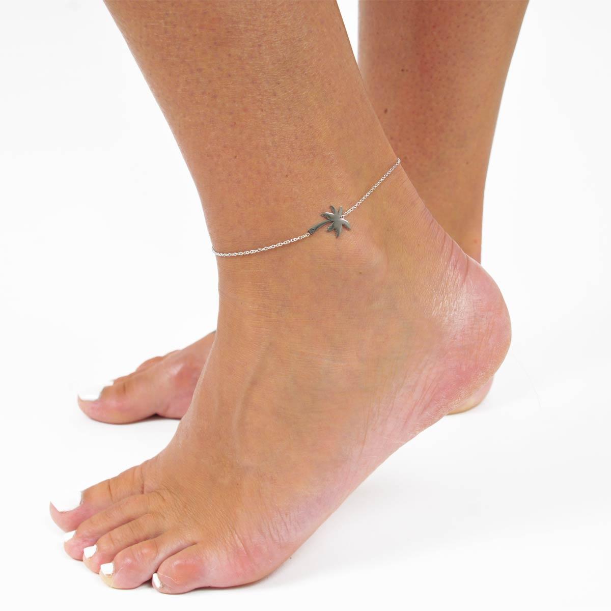 Bracelet de cheville palmier argenté