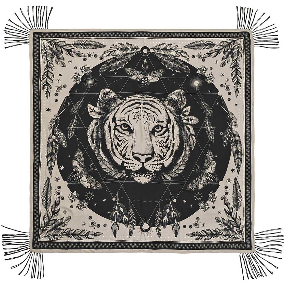 foulard gris taupe frange boh me chic colelction amenapih 2018. Black Bedroom Furniture Sets. Home Design Ideas