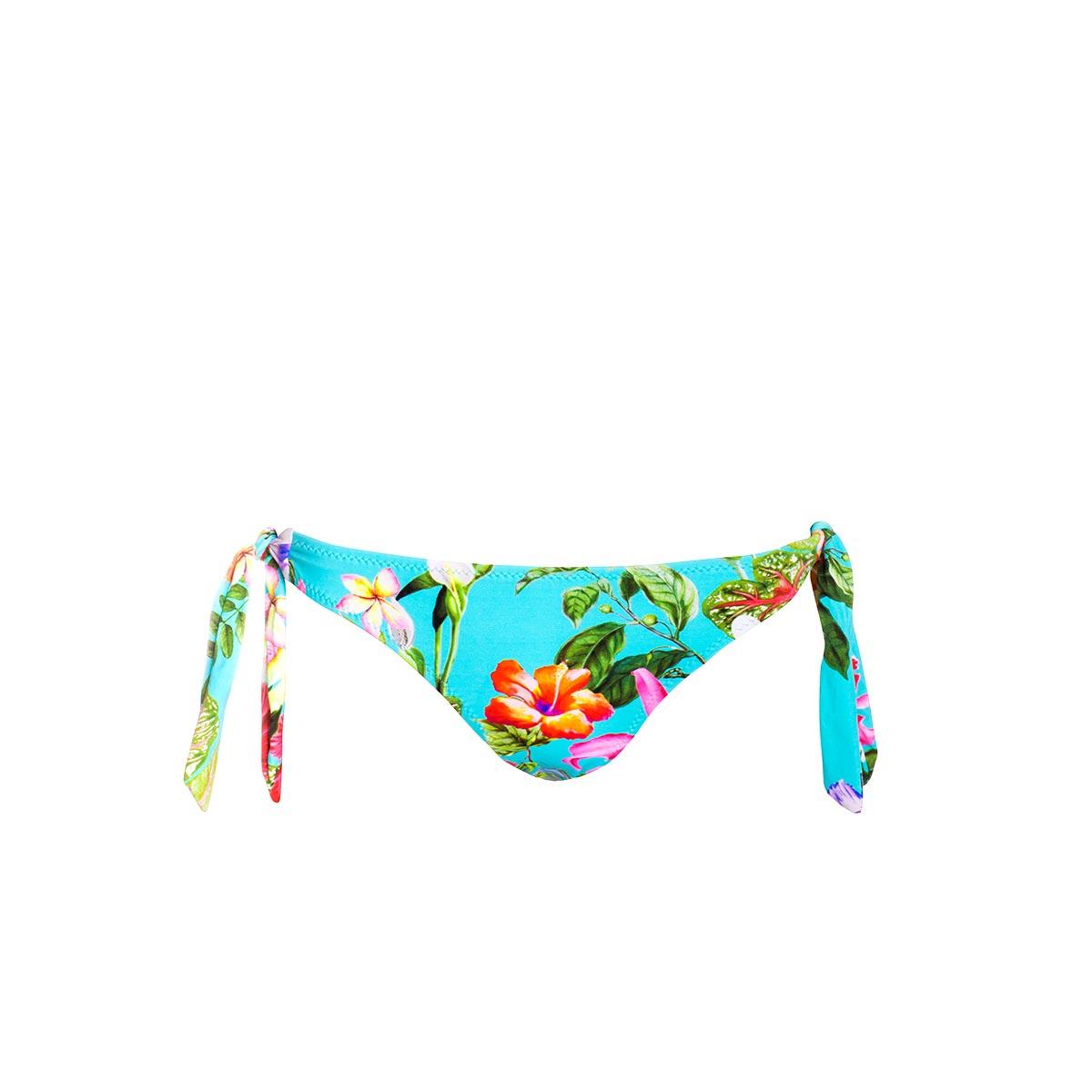Maillot culotte à noeuds bleue ciel à fleurs Tropical Flowers (Bas)