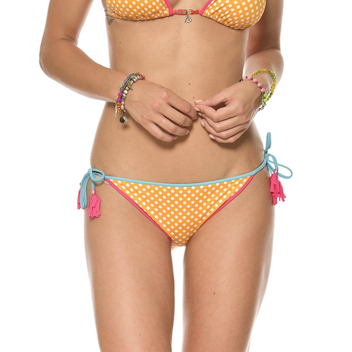 Teens - Maillot culotte jaune orangé à pois réversible Beachpoint (Bas)