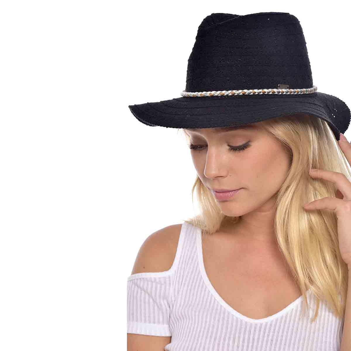 Chapeau de plage noir effet dentelé tressé Hatsy