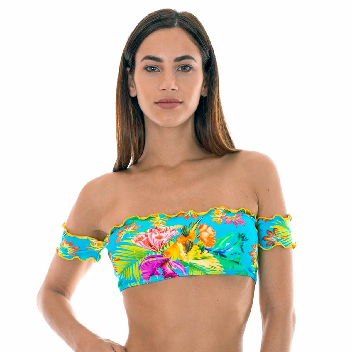 Maillot de bain bandeau à manches multicolore Tropical (Haut)