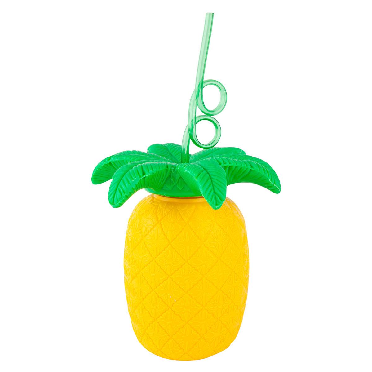 Gobelet jaune avec paille en forme d'Ananas