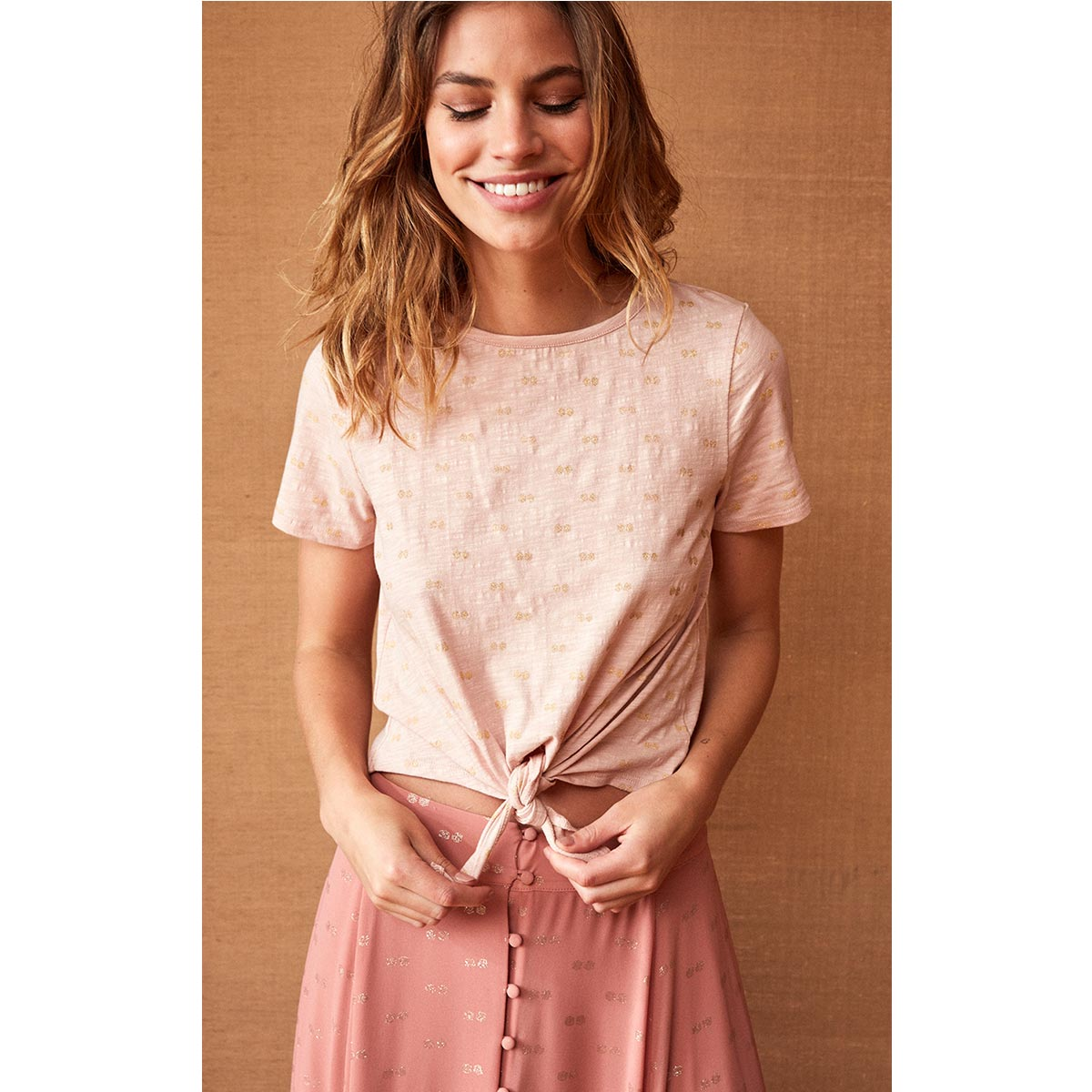 T-shirt rose nude imprimé géométrique TASHA