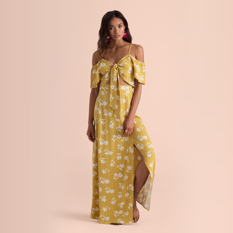 Jupe taille haute jaune citron à fleurs High Heights Sincerely Jules